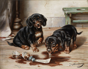Art Prints of Two Dachshunds Feast on Drug of Broken Apothecary Jar by Carl Reichert