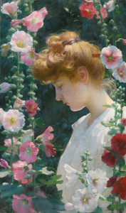 Art Prints of Hollyhocks and Sunlight by Charles Courtney Curran