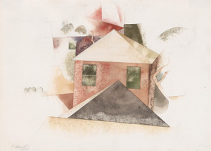 Art Prints of Houses with Red by Charles Demuth