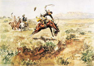 Art Prints of Bronco Busting by Charles Marion Russell