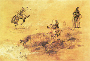 Art Prints of Bronco Busting, Driving in Cow Puncher by Charles Marion Russell