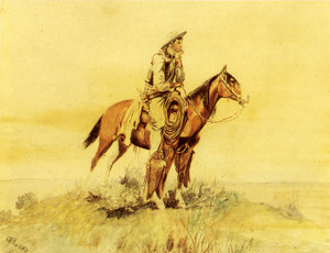 Art Prints of Cowboy on Horseback, Meditation II by Charles Marion Russell