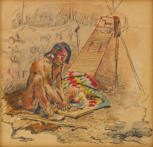 Art Prints of Indian Preparing a Pipe by Charles Marion Russell