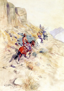 Art Prints of Indians on a Mountain Path by Charles Marion Russell