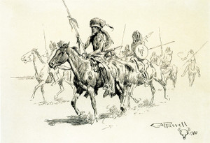 Art Prints of Indians on Horseback II by Charles Marion Russell