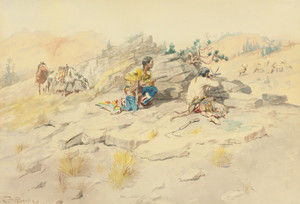 Art Prints of Indians Stalking Elk by Charles Marion Russell
