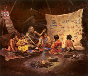 Art Prints of Kindergarten or the Storyteller by Charles Marion Russell