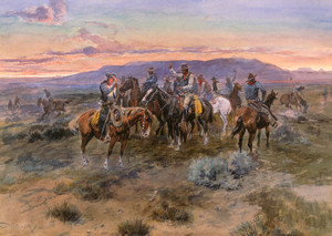 Art Prints of Scattering the Riders, 1900 by Charles Marion Russell