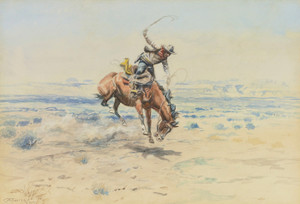 Art Prints of The Bucking Bronc by Charles Marion Russell