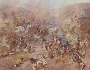 Art Prints of The Battle at Belly River by Charles Marion Russell