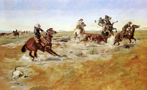 Art Prints of The Judith Basin Roundup by Charles Marion Russell