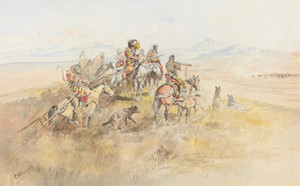 Art Prints of Watching the Buff by Charles Marion Russell