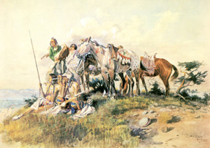 Art Prints of Watching for the Smoke Signal by Charles Marion Russell