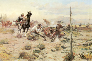 Art Prints of When Horseflesh Comes High by Charles Marion Russell