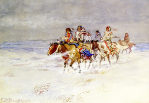 Art Prints of War Party in Winter by Charles Marion Russell