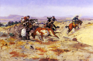 Art Prints of When Cowboys get in Trouble by Charles Marion Russell