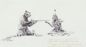 Art Prints of Bear and Indian Smoking Pipe by Charles Marion Russell