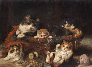 Art Prints of Kittens Playing by Charles Van den Eycken