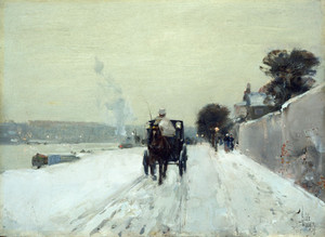 Art Prints of Along the Seine, Winter by Childe Hassam