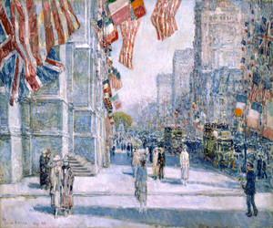 Art Prints of Early Morning on the Avenue, May 1917 by Childe Hassam