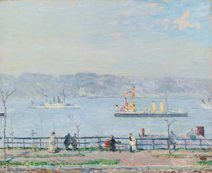 Art Prints of Man-O-War, the Blake and the Boston by Childe Hassam