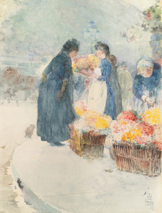Art Prints of The Flower Seller by Childe Hassam