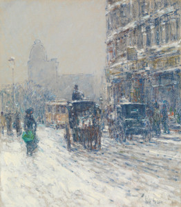 Art Prints of Winter Morning on Broadway by Childe Hassam