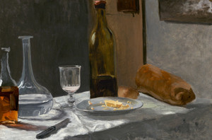 Art Prints of Still Life with Bottle, Carafe, Bread and Wine by Claude Monet