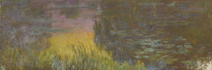 Art Prints of The Water Lilies, Setting Sun by Claude Monet