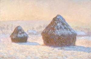 Art Prints of Wheatstacks, Snow Effect, Morning by Claude Monet