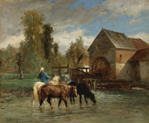 Art Prints of Watering Horses by Constant Troyon