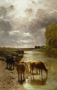 Art Prints of Cattle Drinking by Constant Troyon