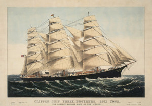 Art Prints of Clipper Ship Three Brothers, 1875 by Currier & Ives