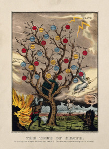 Art Prints of A Withered Tree Bearing Apples Labelled with Sins by Currier & Ives