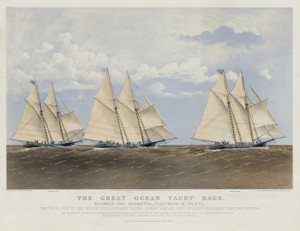 Art Prints of Great Ocean Yacht Race, Henrietta Fleetwing and Vesta by Currier & Ives
