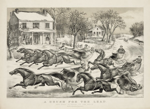 Art Prints of A Brush for the Lead, New York Flyers on the Snow by Currier & Ives