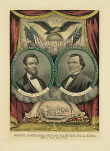 Art Prints of US Republican Presidential Ticket, Lincoln and Johnson by Currier & Ives