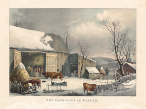 Art Prints of The Farmyard in Winter by Currier & Ives