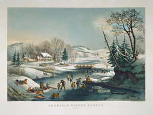 Art Prints of Winter Scene, Morning by Currier & Ives