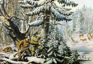 Art Prints of American Winter Sports, Deer Shooting by Currier & Ives