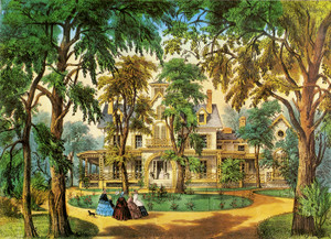 Art Prints of A Home in the Country by Currier & Ives