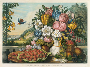 Art Prints of Landscape, Fruit and Flowers by Currier & Ives and Frances Flora Palmer