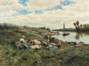 Art Prints of After Lunch, Banks of the Seine by Daniel Ridgway Knight