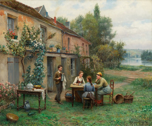 Art Prints of Coffee in the Garden by Daniel Ridgway Knight