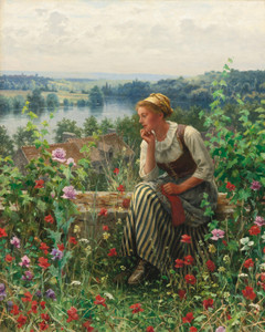 Art Prints of Normandy Girl Seating in a Garden by Daniel Ridgway Knight