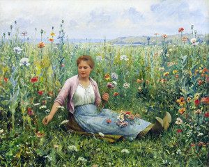Art Prints of Picking Wildflowers by Daniel Ridgway Knight