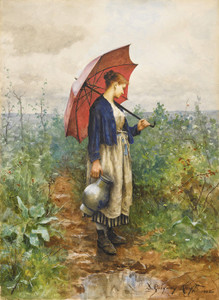 Art Prints of Portrait of a Woman Gathering Water by Daniel Ridgway Knight