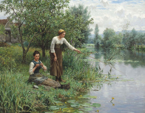 Art Prints of Two Woman Fishing by Daniel Ridgway Knight
