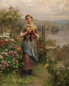 Art Prints of Young Woman Knitting by Daniel Ridgway Knight