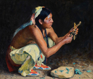 Art Prints of The Turquoise Bead Driller by Eanger Irving Couse